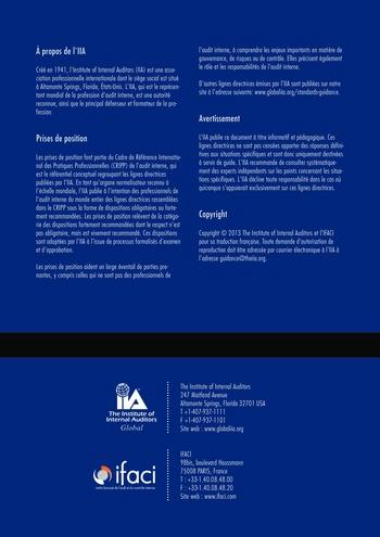 Prise de position - Les trois lignes de maîtrise pour une gestion des risques et un contrôle efficaces / IIA page 10