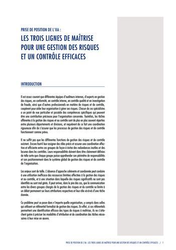 Prise de position - Les trois lignes de maîtrise pour une gestion des risques et un contrôle efficaces / IIA page 3