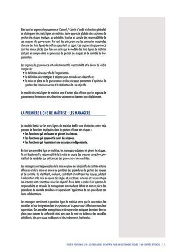 Prise de position - Les trois lignes de maîtrise pour une gestion des risques et un contrôle efficaces / IIA page 5