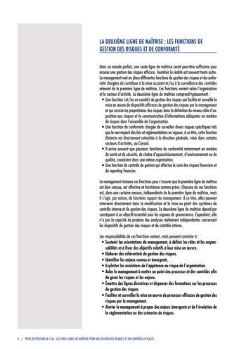 Prise de position - Les trois lignes de maîtrise pour une gestion des risques et un contrôle efficaces / IIA page 6