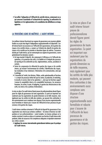 Prise de position - Les trois lignes de maîtrise pour une gestion des risques et un contrôle efficaces / IIA page 7