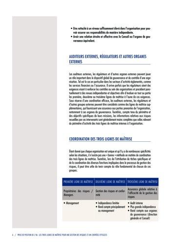 Prise de position - Les trois lignes de maîtrise pour une gestion des risques et un contrôle efficaces / IIA page 8