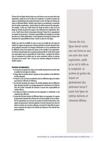 Prise de position - Les trois lignes de maîtrise pour une gestion des risques et un contrôle efficaces / IIA page 9