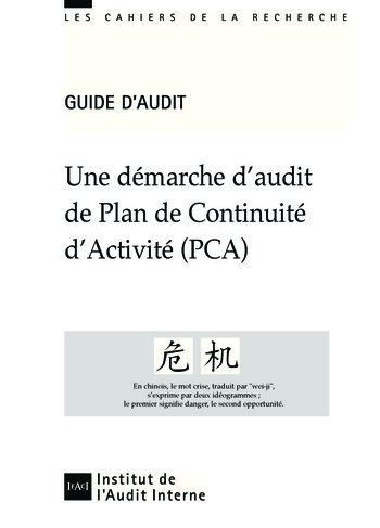 Une démarche d'audit de plan de continuité d'activité (PCA) page 1