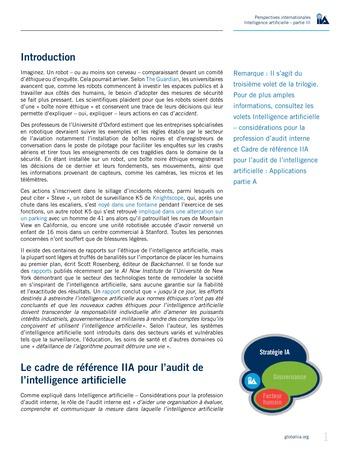 Perspectives internationales - Cadre de référence IIA pour l'audit de l'intelligence artificielle Partie B page 3