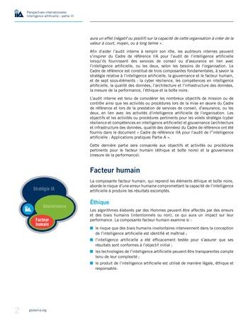 Perspectives internationales - Cadre de référence IIA pour l'audit de l'intelligence artificielle Partie B page 4