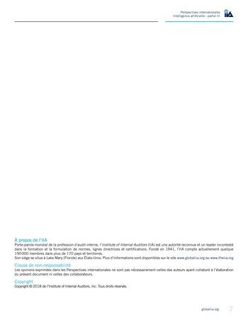 Perspectives internationales - Cadre de référence IIA pour l'audit de l'intelligence artificielle Partie B page 9