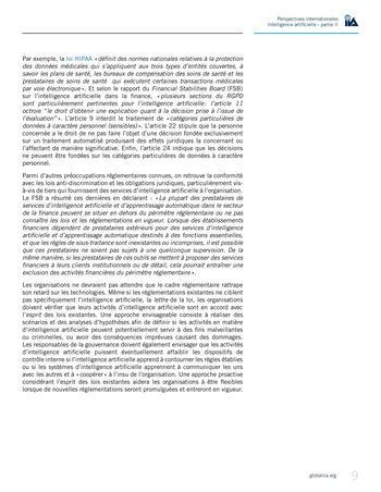 Perspectives internationales - Cadre de référence IIA pour l'audit de l'intelligence artificielle Partie A page 11