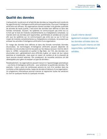 Perspectives internationales - Cadre de référence IIA pour l'audit de l'intelligence artificielle Partie A page 15