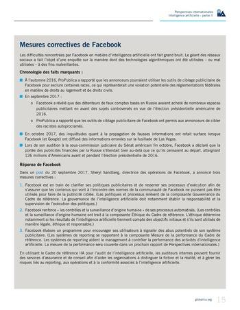 Perspectives internationales - Cadre de référence IIA pour l'audit de l'intelligence artificielle Partie A page 17