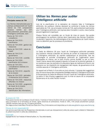 Perspectives internationales - Cadre de référence IIA pour l'audit de l'intelligence artificielle Partie A page 18