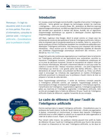 Perspectives internationales - Cadre de référence IIA pour l'audit de l'intelligence artificielle Partie A page 4