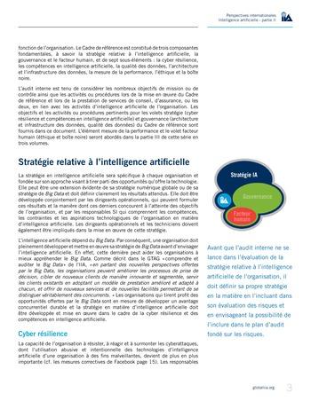 Perspectives internationales - Cadre de référence IIA pour l'audit de l'intelligence artificielle Partie A page 5