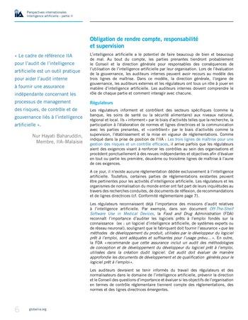 Perspectives internationales - Cadre de référence IIA pour l'audit de l'intelligence artificielle Partie A page 8