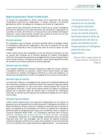 Perspectives internationales - Cadre de référence IIA pour l'audit de l'intelligence artificielle Partie A page 9