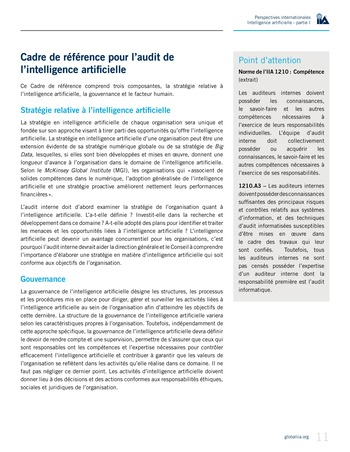 Perspectives Internationales - Intelligence artificielle : quelles considérations pour l'audit interne ? page 11