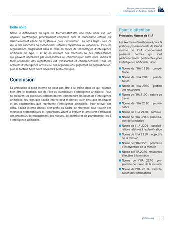 Perspectives Internationales - Intelligence artificielle : quelles considérations pour l'audit interne ? page 13