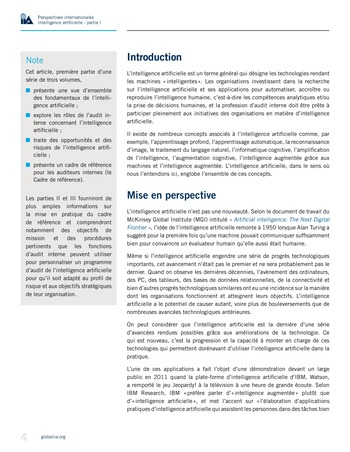 Perspectives Internationales - Intelligence artificielle : quelles considérations pour l'audit interne ? page 4