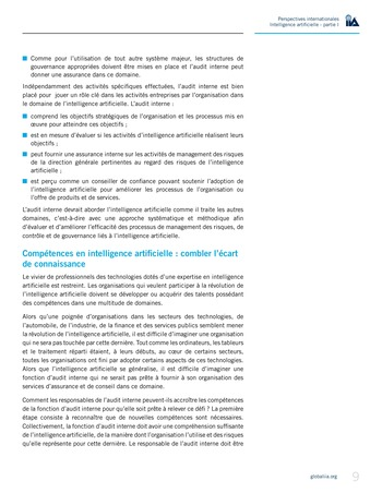 Perspectives Internationales - Intelligence artificielle : quelles considérations pour l'audit interne ? page 9