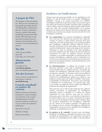 Tone at the top 85 - Intelligence artificielle : le futur de l'audit interne / dec 2017 page 2