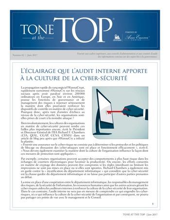Tone at the top 82 - L'éclairage que l'audit interne apporte à la culture de la cyber-sécurité / juin 2017 page 1