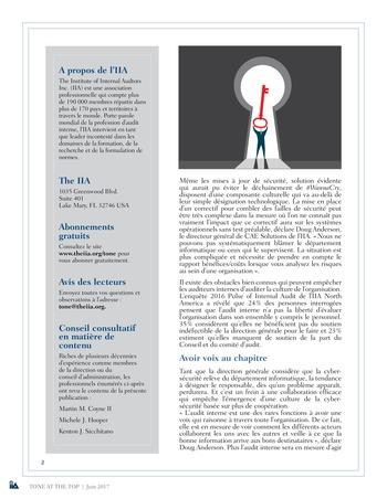 Tone at the top 82 - L'éclairage que l'audit interne apporte à la culture de la cyber-sécurité / juin 2017 page 2