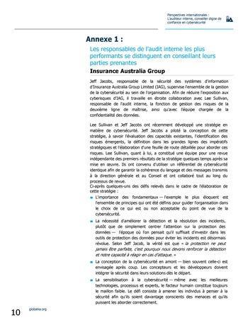 Perspectives internationales - L'audit interne, conseiller digne de confiance en cybersécurité page 10