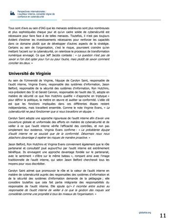 Perspectives internationales - L'audit interne, conseiller digne de confiance en cybersécurité page 11