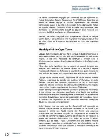 Perspectives internationales - L'audit interne, conseiller digne de confiance en cybersécurité page 12