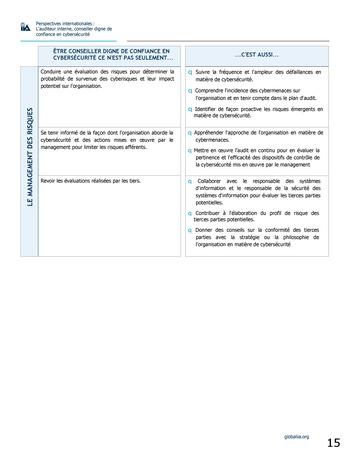 Perspectives internationales - L'audit interne, conseiller digne de confiance en cybersécurité page 15