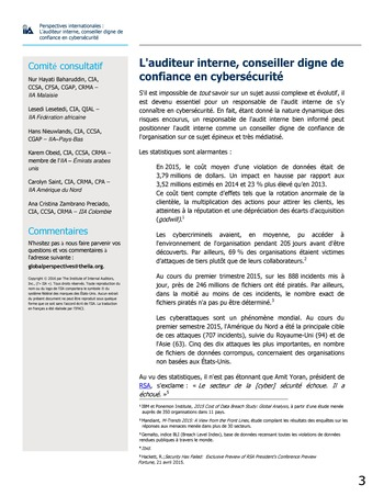 Perspectives internationales - L'audit interne, conseiller digne de confiance en cybersécurité page 3