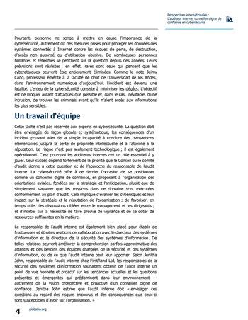Perspectives internationales - L'audit interne, conseiller digne de confiance en cybersécurité page 4