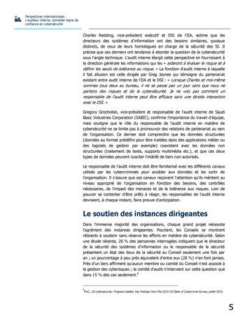 Perspectives internationales - L'audit interne, conseiller digne de confiance en cybersécurité page 5