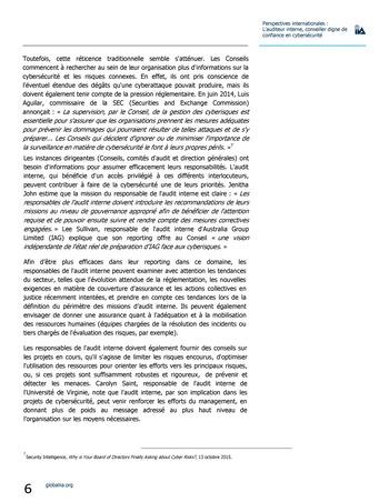 Perspectives internationales - L'audit interne, conseiller digne de confiance en cybersécurité page 6