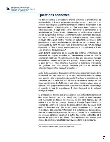 Perspectives internationales - L'audit interne, conseiller digne de confiance en cybersécurité page 7