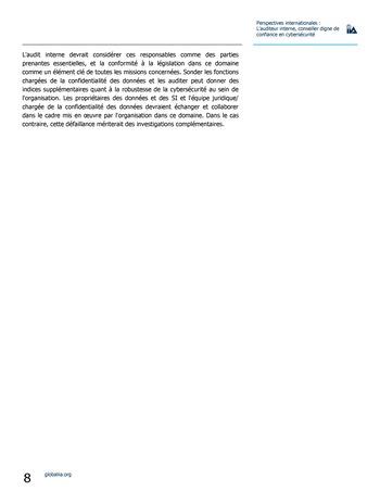 Perspectives internationales - L'audit interne, conseiller digne de confiance en cybersécurité page 8
