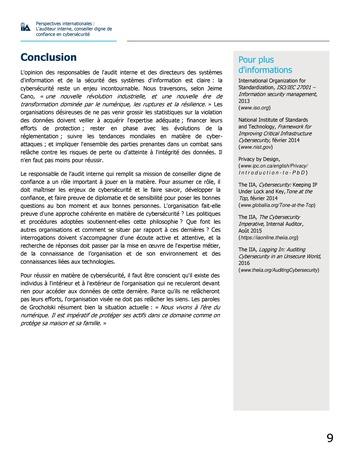 Perspectives internationales - L'audit interne, conseiller digne de confiance en cybersécurité page 9
