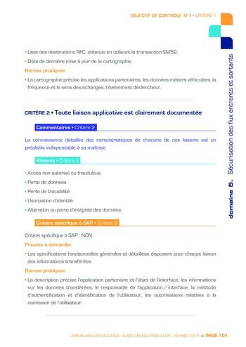 Guide d'évaluation d'un système SAP pour l'audit interne / AFAI, IFACI, USF page 102