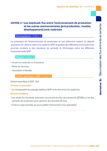 Guide d'évaluation d'un système SAP pour l'audit interne / AFAI, IFACI, USF page 104