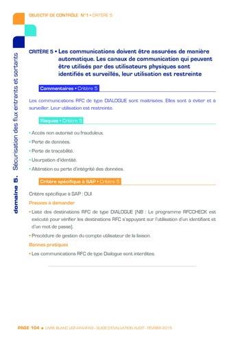 Guide d'évaluation d'un système SAP pour l'audit interne / AFAI, IFACI, USF page 105