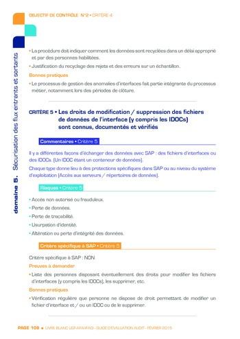 Guide d'évaluation d'un système SAP pour l'audit interne / AFAI, IFACI, USF page 109