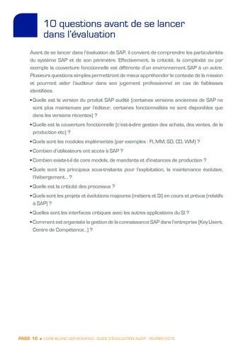 Guide d'évaluation d'un système SAP pour l'audit interne / AFAI, IFACI, USF page 11