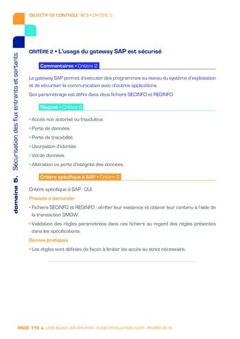 Guide d'évaluation d'un système SAP pour l'audit interne / AFAI, IFACI, USF page 111