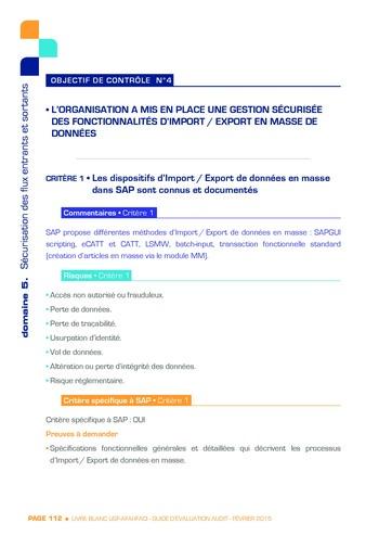 Guide d'évaluation d'un système SAP pour l'audit interne / AFAI, IFACI, USF page 113