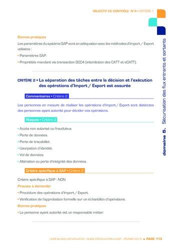 Guide d'évaluation d'un système SAP pour l'audit interne / AFAI, IFACI, USF page 114