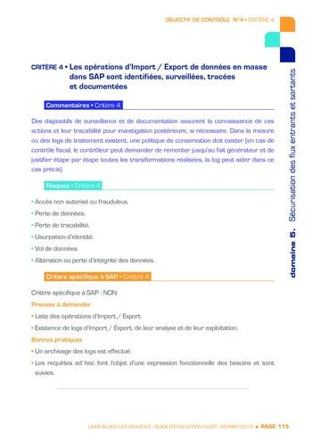 Guide d'évaluation d'un système SAP pour l'audit interne / AFAI, IFACI, USF page 116