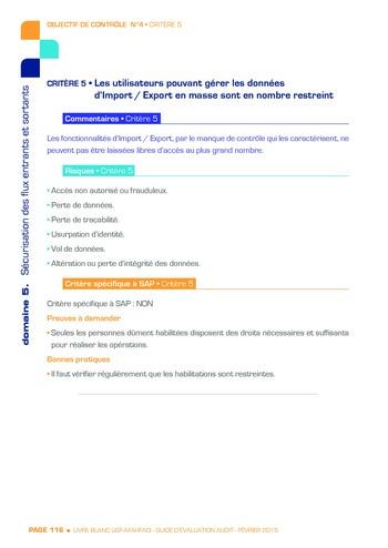 Guide d'évaluation d'un système SAP pour l'audit interne / AFAI, IFACI, USF page 117