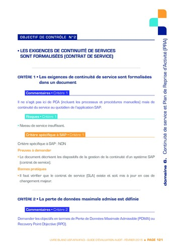 Guide d'évaluation d'un système SAP pour l'audit interne / AFAI, IFACI, USF page 122