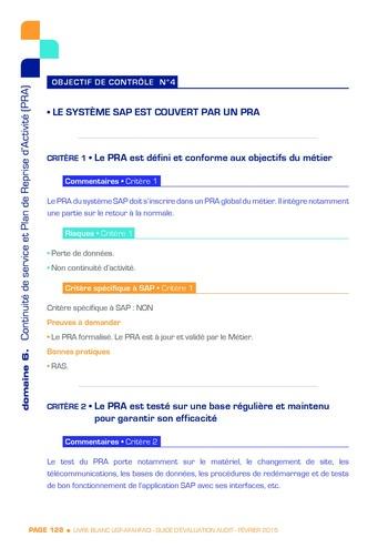 Guide d'évaluation d'un système SAP pour l'audit interne / AFAI, IFACI, USF page 129