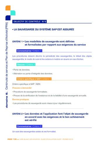 Guide d'évaluation d'un système SAP pour l'audit interne / AFAI, IFACI, USF page 137